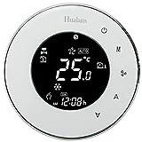 Termostato Wi-Fi per Caldaia a Gas,Termostato Caldaia Incasso Schermo LCD(VA Schermo) Touch Button Retroilluminato Programmabile con Alexa,alri Dispositivi smart e Telefono APP-Rotondo/Bianco