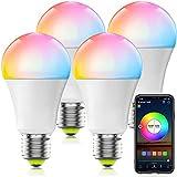 HaoDeng Smart WiFi Lampadina Alexa, dimmerabile Multicolor E27 A19 7W (equivalente 60w) Lampadina a LED, compatibile con Alexa Google Home Siri IFTTT (confezione da 4)