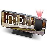 JIGA Sveglia Digitale da Comodino con 180° di Rotazione Proiettore, 4 Livelli Luminosità e Snooze, FM Radio, 12/24H Doppi Sveglia con Porta USB, Termometro Umidità, per Camera da Letto, Soggiorno, ecc