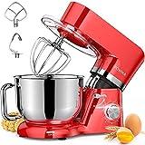 Impastatrice Planetaria, POWWA 1500W 6.2Litri Robot da Cucina con ciotola di acciaio inossidabile, frusta, gancio per impastare, frusta per dolci, lavabile in lavastoviglie (Rosso)