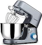 Cookmii Impastatrice Planetaria 1800W 7.2L Robot da Cucina, Mixer Impastatrice Professionale, Basso Rumore con Gancio impastare, Protezione da Spruzzi, Frusta, Ciotola in Acciaio Inox da 6 Velocità