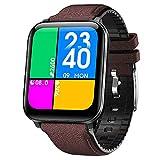 [Novità] 2021 Orologio Smartwatch 1.69' Ricarica wireless fitness tracker Uomo Donna Saturimetro Pressione sanguigna Monitoraggo sonno Temperatura corporea per Android e iOS (Dark brown)