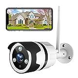 Netvue Telecamera Wi-Fi Esterno,1080P FHD Videocamera Sorveglianza Compatibile con Alexa, Rilevamento di Umano Movimento, Visione Notturna, Audio Bidirezionale