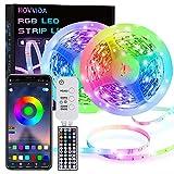 Striscia LED, HOVVIDA 15M Bluetooth Strisce LED 5050 RGB 12V Musica, Controllato da APP, Telecomando IR e Controller, 16 Milioni di Colori, 28 Modalità di Stile, Modalità di Temporizzazione
