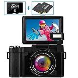 Fotocamera Digitale Fotocamera compatta Full HD 2.7K 30MP Fotocamera vlogging per YouTube Macchina Fotografica con scheda di memoria 32G e 2 batterie (G06C, BLACK) (G06C)