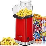 Macchina Popcorn, 1400W Macchina per Popcorn Senza Olio e Grassi, Pentola Antiaderente, Bocca Larga, Coperchio Rimovibile & Misurino, Senza BPA, Rosso