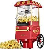 Macchina per Pop Corn, 1200W Retro Macchina Popcorn Compatta ad aria calda senza grassi, Operazione con Un Pulsante, Rosso