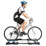 homcom Rullo da Allenamento Biciclette Trainer Pieghevole, Rullo Anteriore Regolabile, Max. Carico 120kg, Blu e Nero